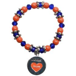 COLLEGIATE Orange & Blue Beaded Mom Charm Bracelet