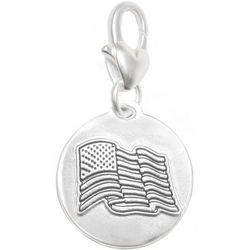 Amanda Blu Silver Tone Freedom American Flag Charm