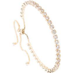 Amanda Blu Cubic Zirconia Stones Gold Tone Slider Bracelet