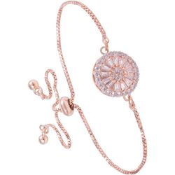 Amanda Blu Center Disc Rose Gold Tone Slider Bracelet