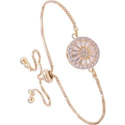 Amanda Blu Gold Tone Cubic Zirconia Disc Slider Bracelet