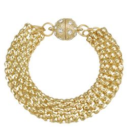 JEWELS TO JET Gold Tone Mesh Chain Bracelet
