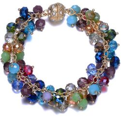 JEWELS TO JET Multi-Faceted Glass Beaded Bracelet
