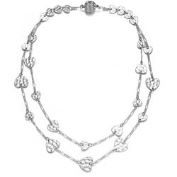 JEWELS TO JET Amore Hammered Hearts Chain Necklace