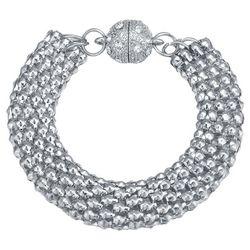 JEWELS TO JET Silver Tone Mesh Chain Bracelet
