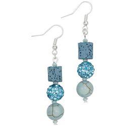 Laura Janelle Aqua Square Lava Bead & Pave Ball Earrings