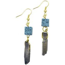 Laura Janelle Blue Lava Bead & Crystal Rock Drop Earrings