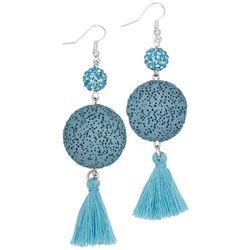 Laura Janelle Aqua Blue Lava Disc Tassel Earrings