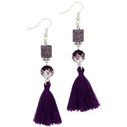 Laura Janelle Purple Square Lava Bead Tassel Drop Earrings