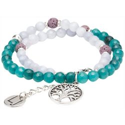 Laura Janelle Family Tree Charm Lava Bead Stretch Bracelet