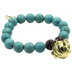 Laura Janelle Turquoise Howlite Bead Cage Charm Bracelet
