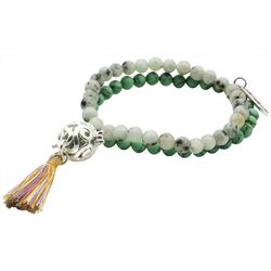 Laura Janelle Green Beaded Cage Charm Tassel Bracelet