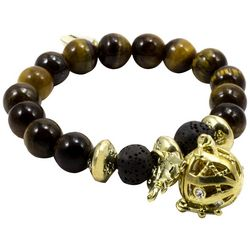 Laura Janelle Tiger Eye Beaded Elephant Charm Bracelet