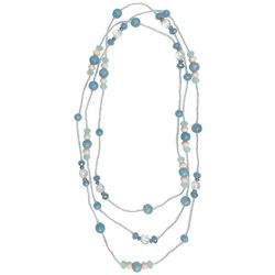 Jewelry Made By Me Long Blue Multi Beaded Necklace