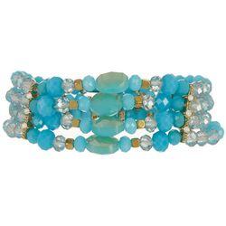 Jewelry Made By Me 4 Row Blue Multi Stretch Bracelet