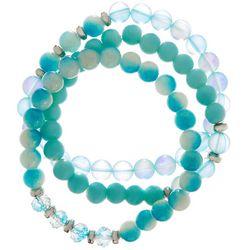 Jewelry Made By Me Aqua Blue Glass Beaded Bracelet Set