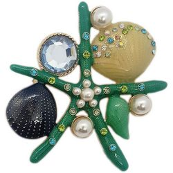 Jewelry Made By Me Green Stones Starfish Pin
