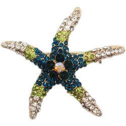 Jewelry Made By Me Blue & Green Rhinestone Starfish Pin