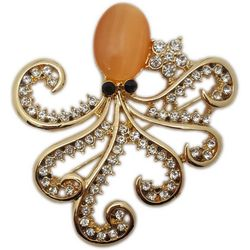 Jewelry Made By Me Peach Body Rhinestone Octopus Pin