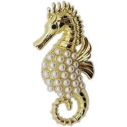 Jewelry Made By Me Gold Tone Faux Pearl Seahorse Pin