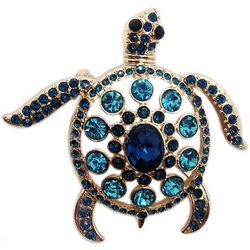 Jewelry Made By Me Aqua Blue Rhinestone Sea Turtle Pin