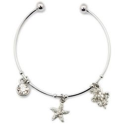 Jewelry Made By Me Silver Tone Starfish Bangle Bracelet