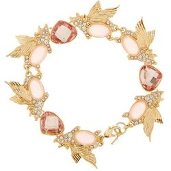 Napier Pink Flying Pig Gold Tone Linked Bracelet