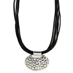 Napier Jet Black 16'' Oval Pressed Detail Necklace