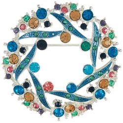 Napier Colorful Rhinestone Wreath Pin