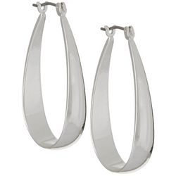 Napier Oval Silver Tone Click It Hoop Earrings
