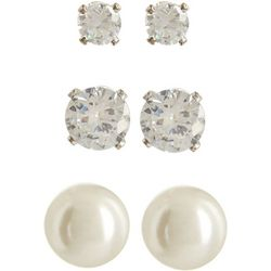 Napier Simulated Pearl & Crystal Trio Earring Set