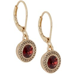 Napier Burgundy Red Gold Tone Round Drop Earrings