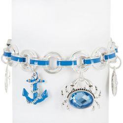 Napier Blue Coastal Sealife Charm Stretch Bracelet