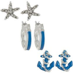 Napier Starfish Anchor and Hoop Trio Earring Set