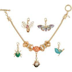 Napier Gold Tone Flying Critter Charm Bracelet