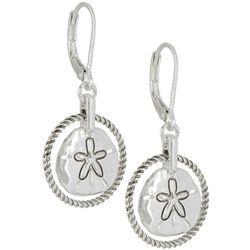 Napier Silver Tone Sand Dollar Dangle Earrings