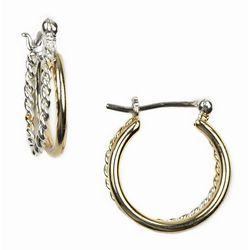 Napier Two-Tone Braided Hoop Earrings
