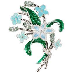 Napier Blue Flower Bouquet Pin