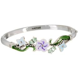 Napier Boxed Spring Flower Hinged Bangle Bracelet