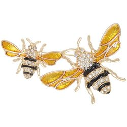 Napier Double Bee Rhinestone Pin