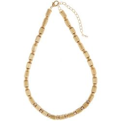Napier Gold Tone Linked Textured Collar Necklace