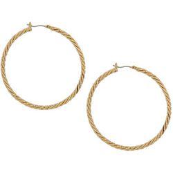 Napier Gold Tone Twisting Pattern Click It Hoop Earrings