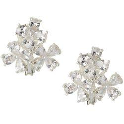 Napier Cubic Zirconia Flower Cluster Clip On Earrings