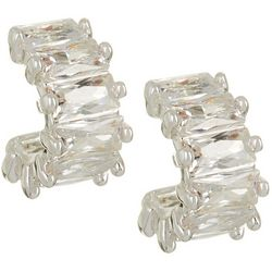 Napier Cubic Zirconia Small Stud C Hoop Earrings