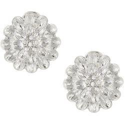Napier Silver Tone Flower Clip On Earrings