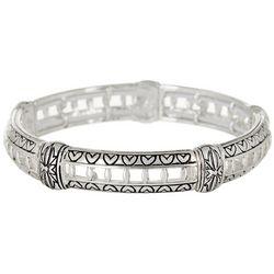 Napier Silver Tone Fancy Work Hearts Stretch Bracelet