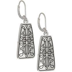 Napier Fancy Work Silver Tone Etched Earrings