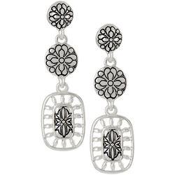 Napier Fancy Work Silver Tone Linear Drop Earrings