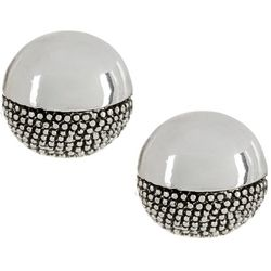 Napier Silver Tone Circle Button Textured Stud Earrings