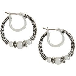 Napier Bead Textured Silver Tone Hoop Earrings